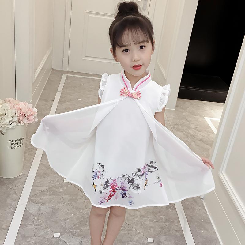 女童旗袍夏款2018新款中国风儿童公主裙小女孩复古夏装汉服