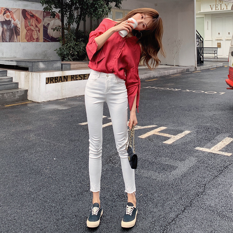 High waist white jeans womens tight and slim 2020 spring and autumn new elastic Leggings slim nine point pencil pants