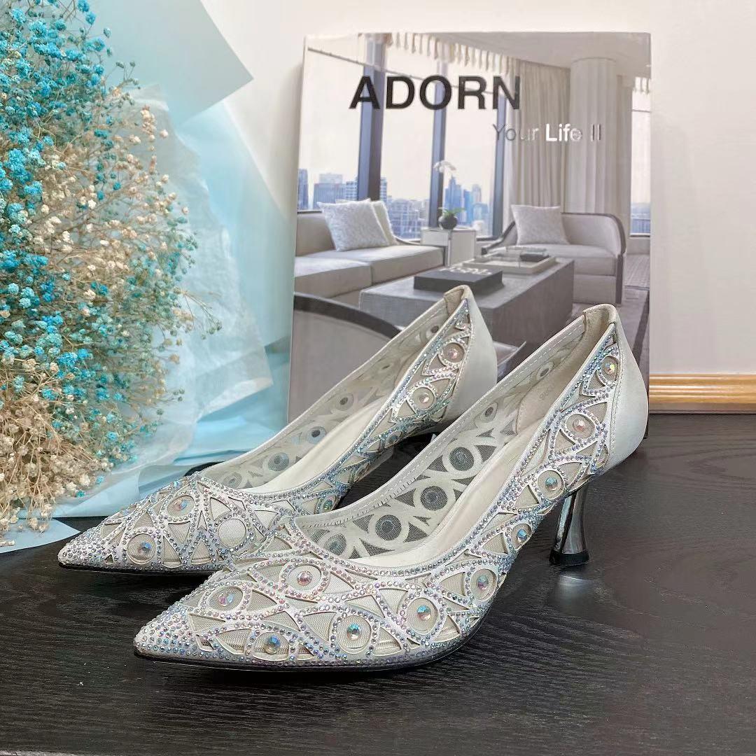 Temperament heavy industry Australia diamond evening dress wedding shoes leather high heeled womens shoes