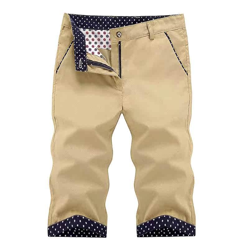 现在最时髦的七分裤男修身深蓝沙滩裤青年喜欢穿的马裤热天潮男裤