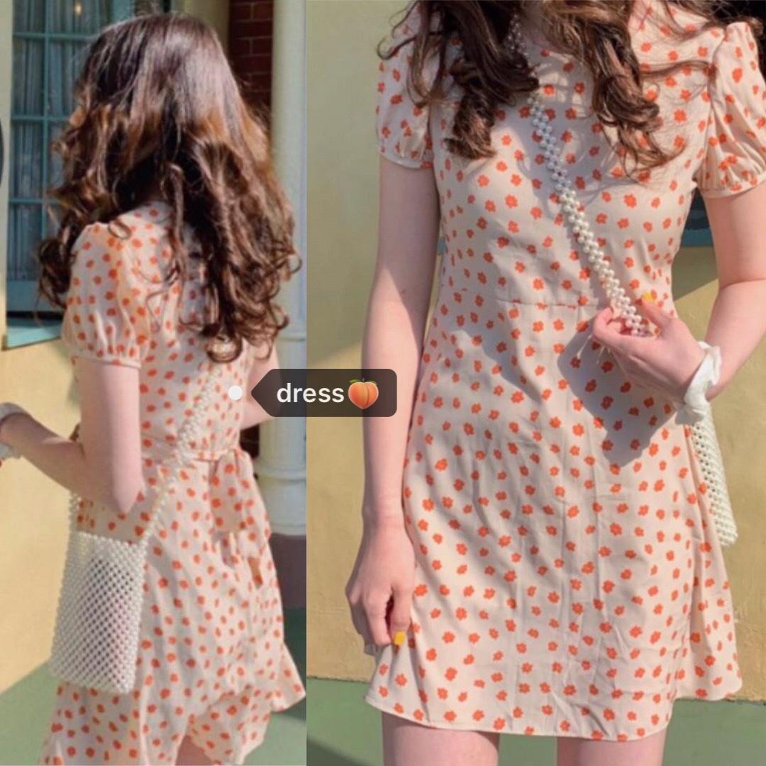 鬼马少女韩国chic复古甜美太阳话蜜桃粉小个子收腰绑带显瘦连衣裙