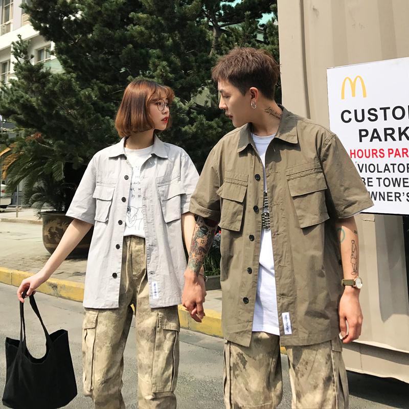夏季情侣装港风短袖衬衣男女学生青年大码BF纯色宽松衬衫Q521-P45