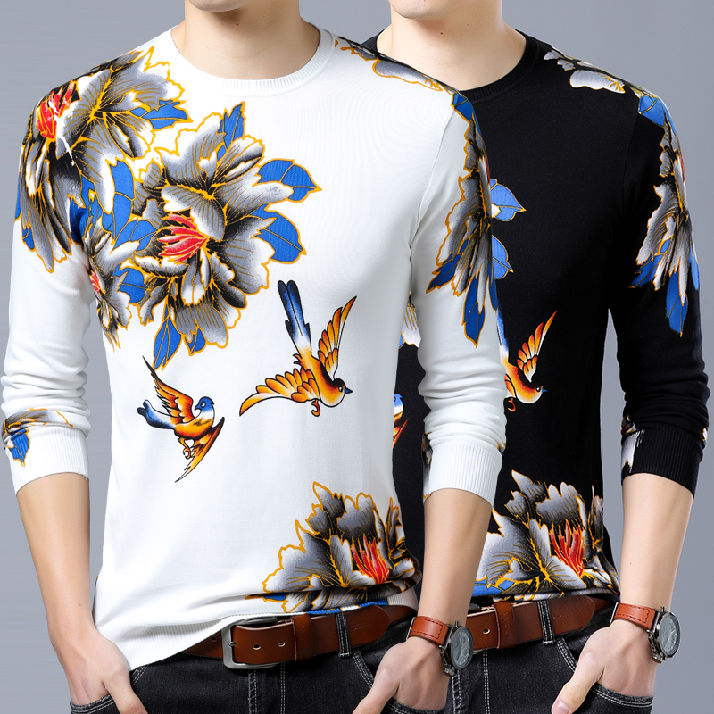 Mens Chinese flower and bird pattern sweater round neck autumn and winter thin print colorful cashmere sweater knitting bottoming T-shirt trend