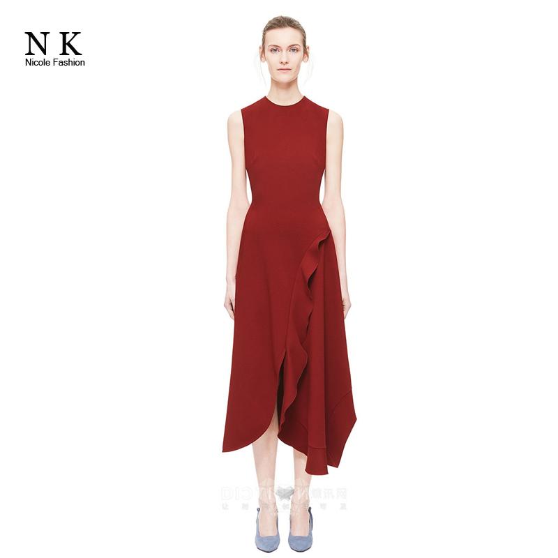 妮可女装 欧美原单品质维多利亚同款圆领无袖不规则中长款连衣裙