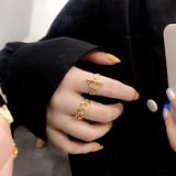 日韩时尚纯银戒指女K金食指环冷淡风潮复古网红简约百搭气质学生