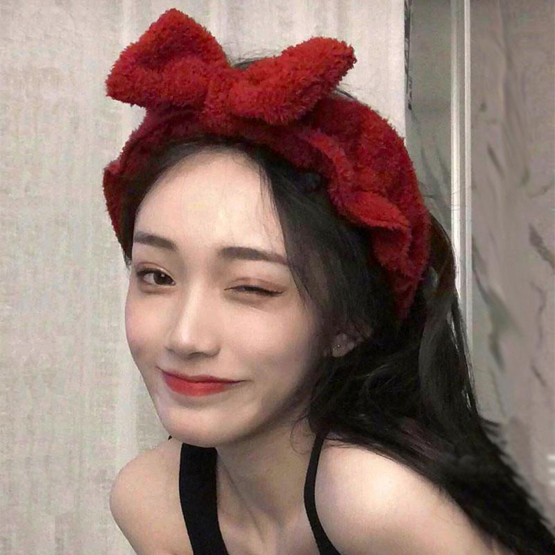 韩国超仙洗脸敷面膜束发带舒适蝴蝶结网红发带少女化妆毛绒头带