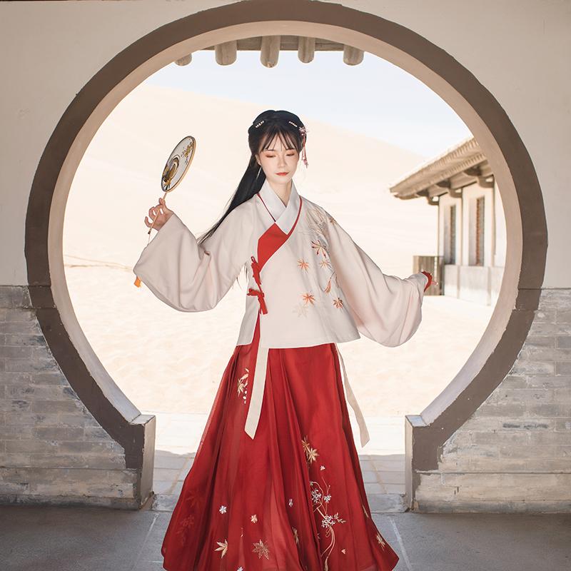重回汉唐枫序汉服女日常上袄短袄琵琶袖套装刺绣秋季明制交领袄裙