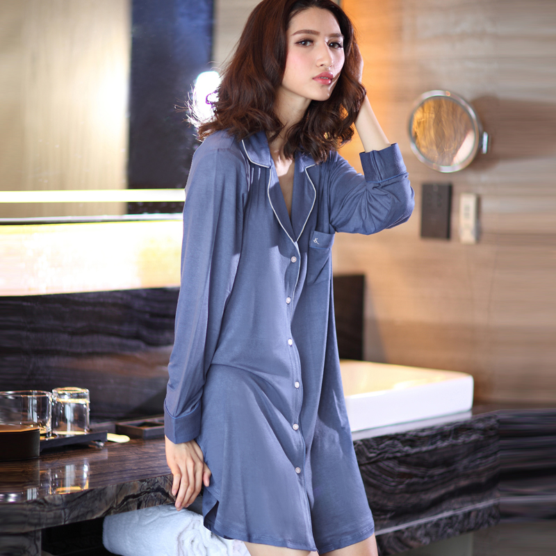 Spring new long sleeved shirt pajamas womens moder nightdress loose large sexy one piece home wear promotion