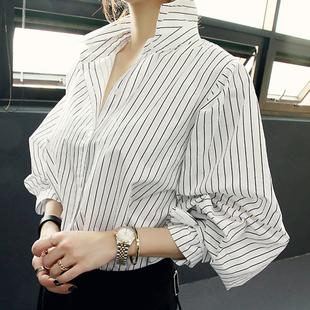 妍容2020秋季新款女裝上衣百搭女衫顯瘦條紋長袖女襯衫