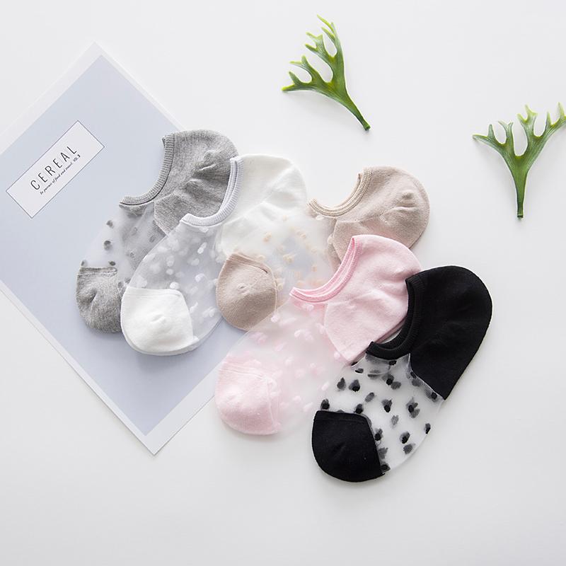 袜子女夏季水晶袜玻璃丝袜短袜薄款可爱浅口韩国隐形船袜蕾丝透