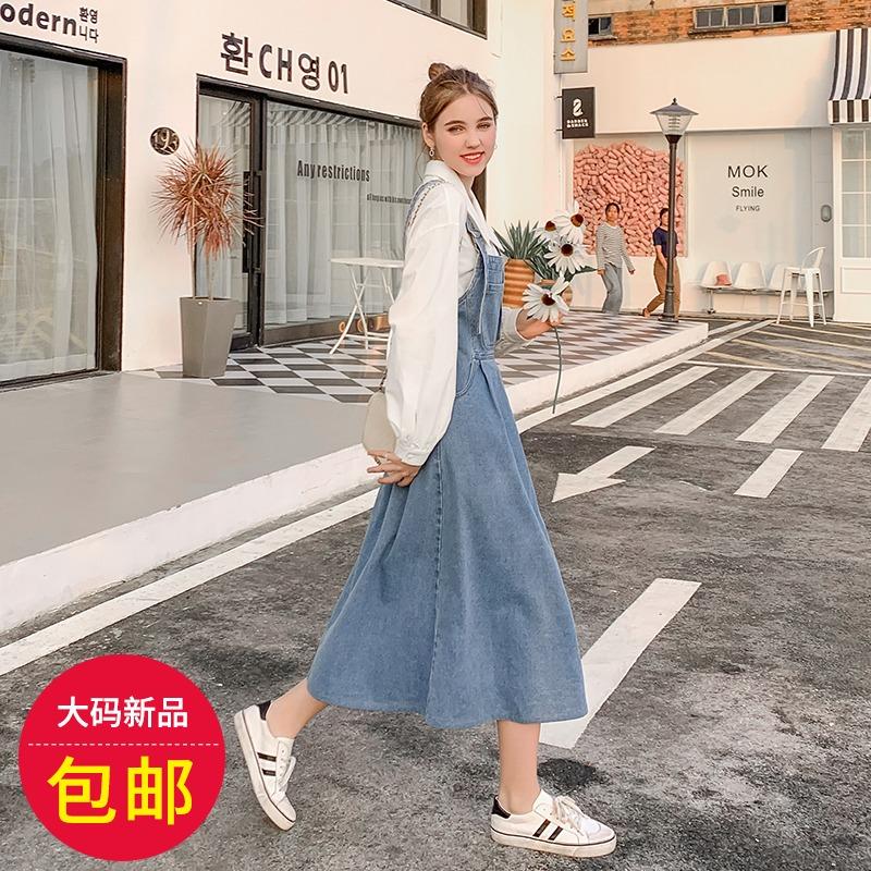 大码时尚宽松背带裙 胸前大口袋秀场设计十足