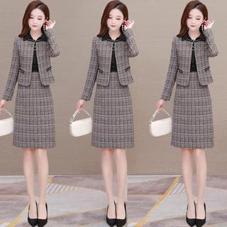 长袖连衣裙套装2020年新款女装秋装减龄显瘦洋气两件套裙子春秋季