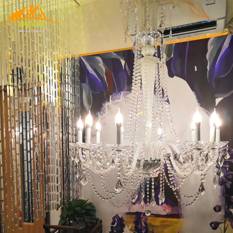 白色酒吧装饰欧式蜡烛灯水晶吊灯