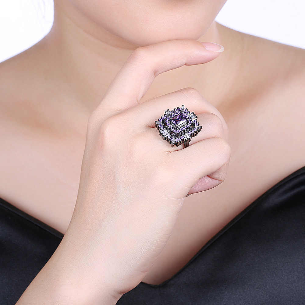 Ring mens and womens Valentines Day gift fashion personality minority design couple creative fashion fashion ring square