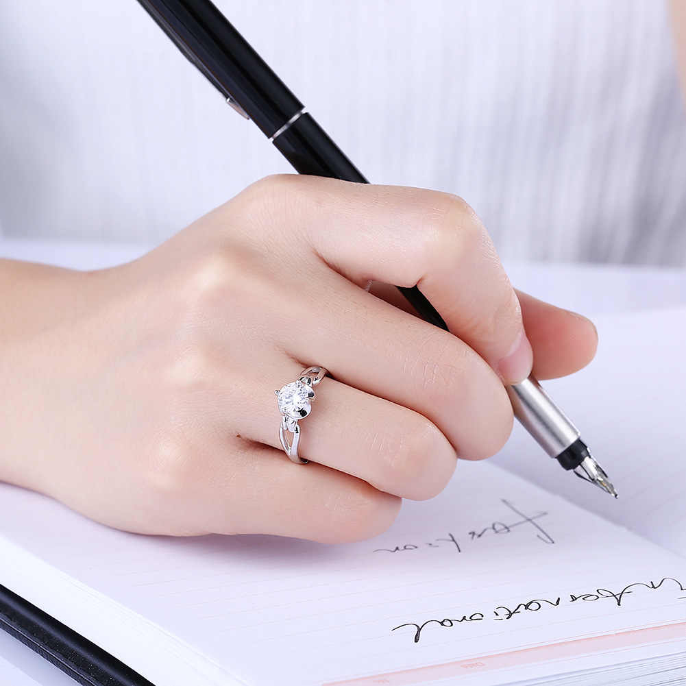 Ring mens and womens Valentines Day gift fashion personality minority design couple creative inlaid zircon ring fashion