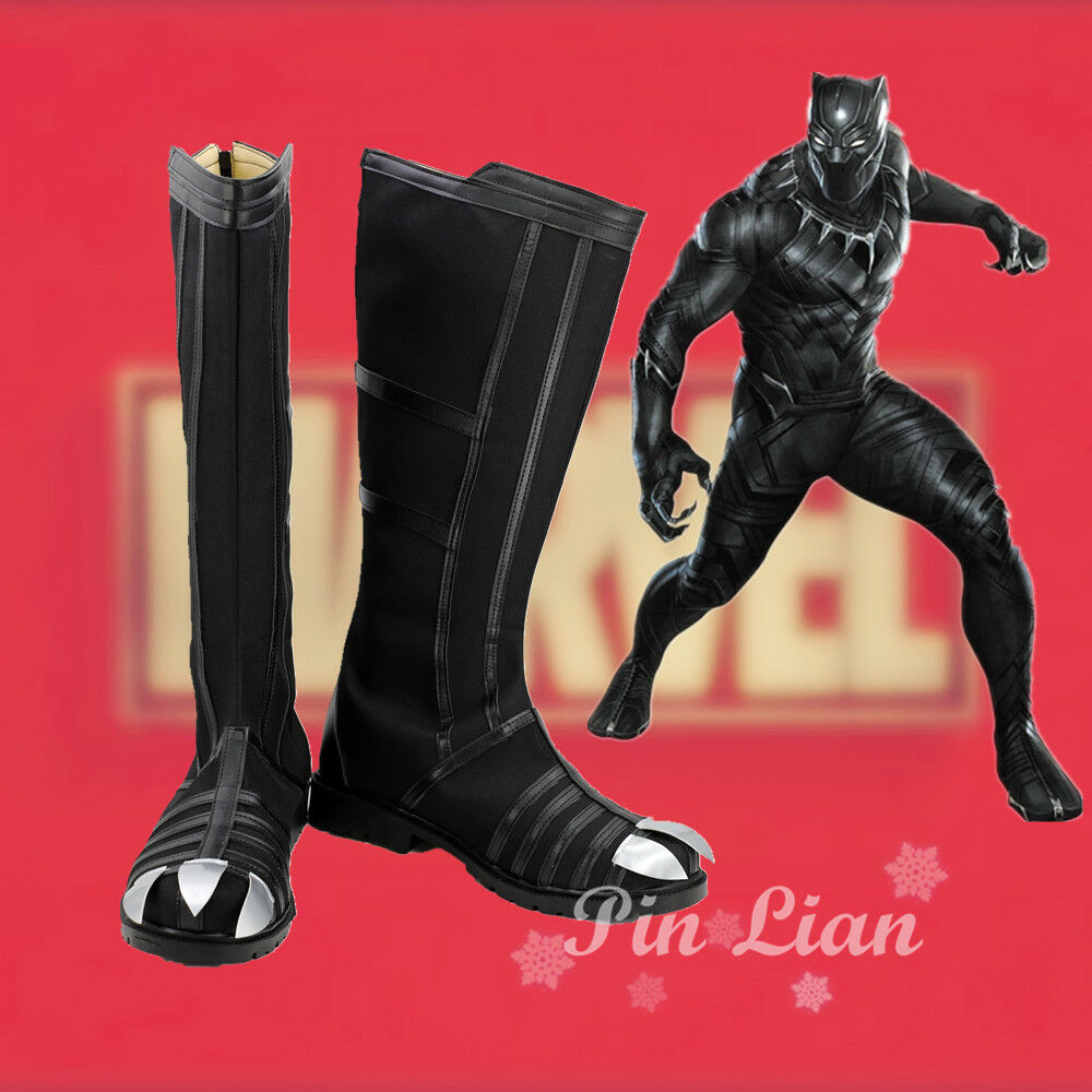 Buy Marvel USA captain 3 shoes and boots black leopard Cosplay high quality shoes and boots for Halloween
