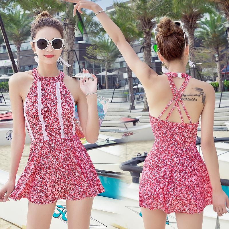 溫泉游泳衣女連體平角裙式韓版復古碎花修身顯瘦沙灘度假新款泳裝