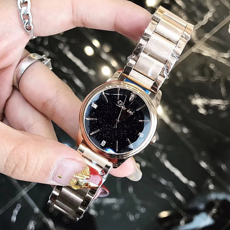 Popular rose gold stainless steel strap leisure small personality star dial fashion lady watch gift
