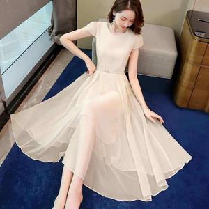 RS18398#新款收腰遮肚显瘦名媛气质温柔风雪纺裙子连衣裙女夏季长裙