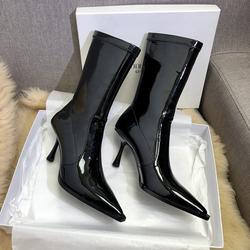 漆皮高跟短靴女ins潮2020秋冬新款欧美亮皮尖头细跟性感网红靴子