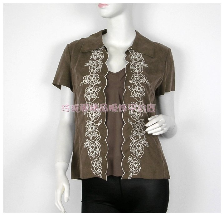 Any 2 pieces of genuine spring and autumn style two piece embroidered short sleeve top, small sling + short coat