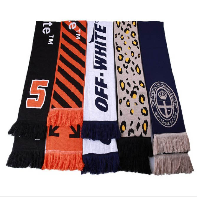 Fashion off ow white scarf mens new striped letter shawl warm and versatile scarf womens birthday present