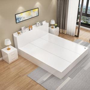 现代简约板式床1.5米榻榻米床1.2米1.8米双人床高箱储物床收纳床