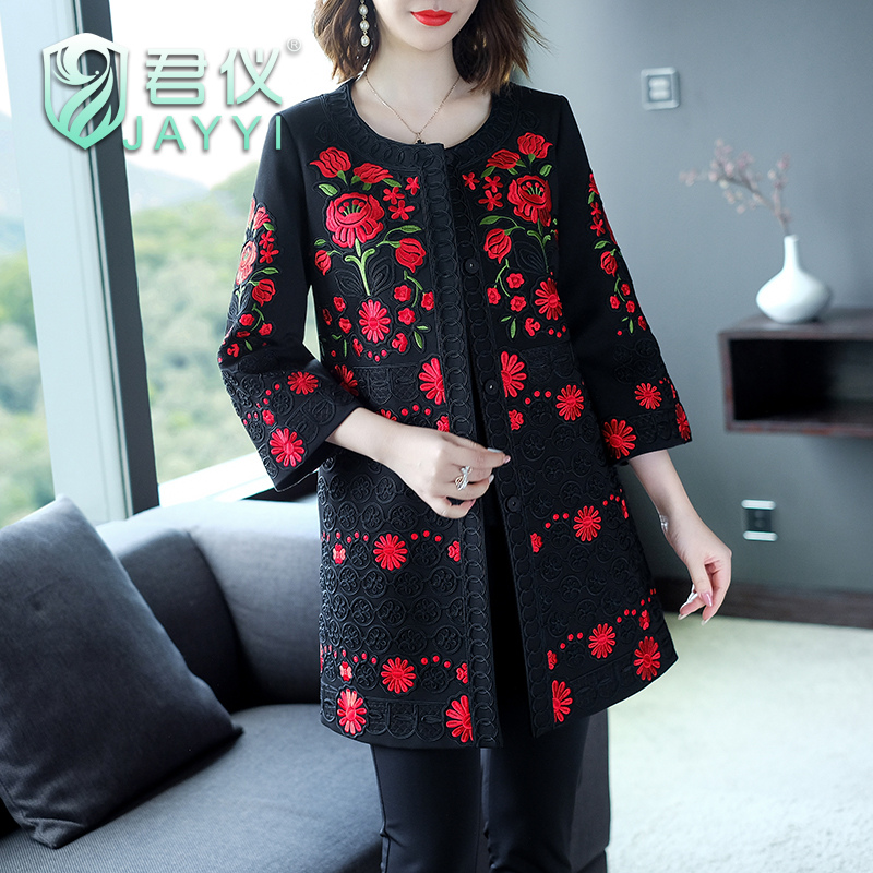 Jun Yi womens clothing autumn and winter new middle-aged and old peoples embroidered jacket cardigan coat slim mothers dress