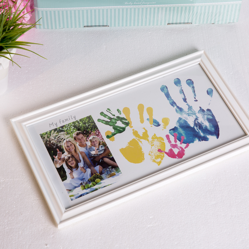 Family photo babys colorful footprints solid wood creative photo frame set up
