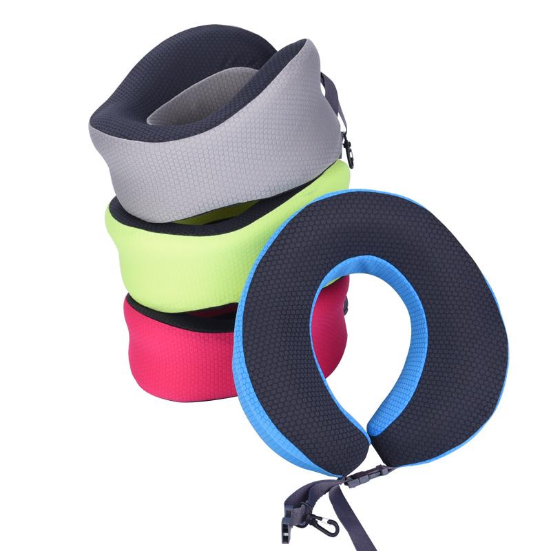 U型枕記憶棉慢回彈運動風便攜可收納頸枕 車用飛機旅行枕護頸枕頭