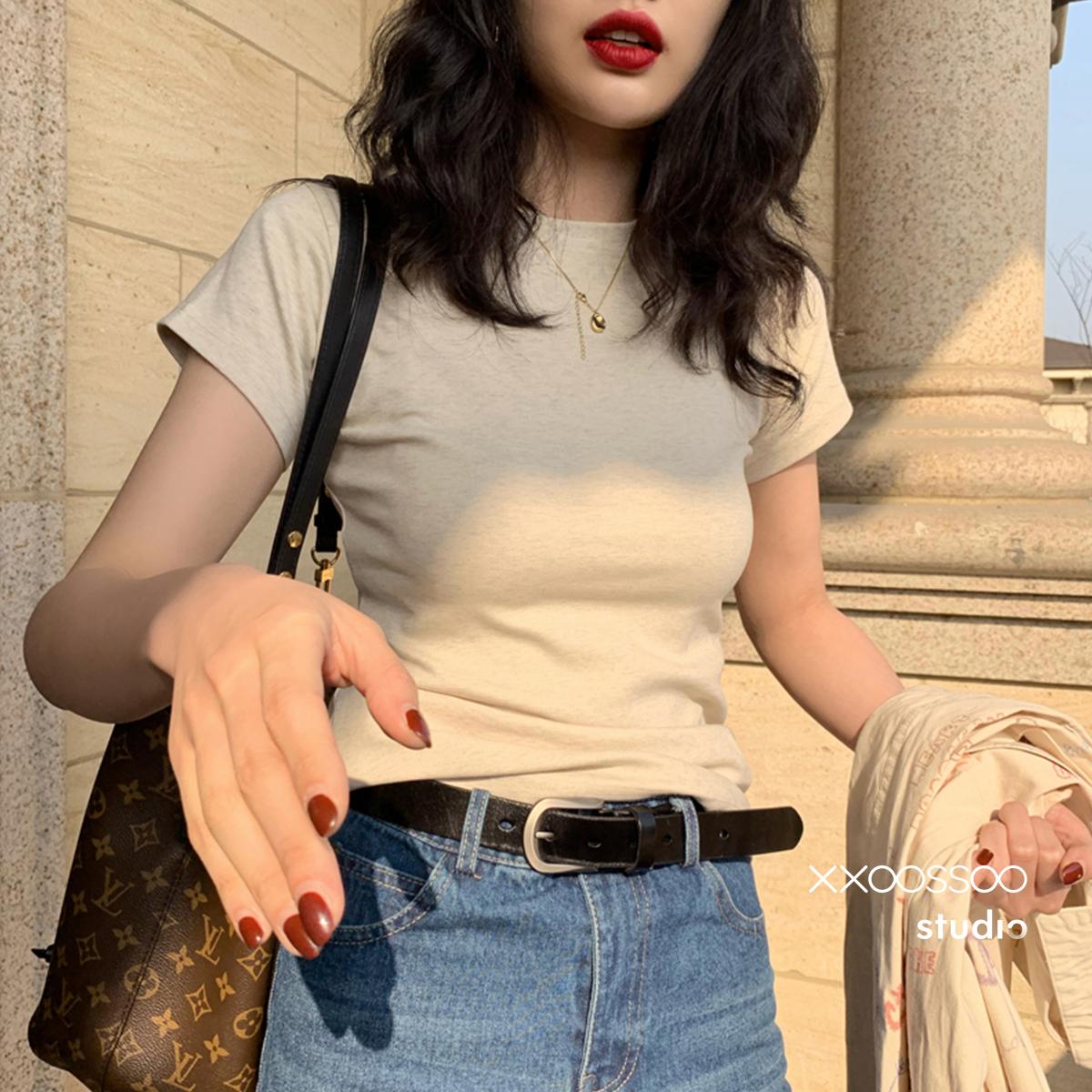 xxoossoo米灰杂色精致包身T恤春装2020款圆领修身显瘦穿棉T女装