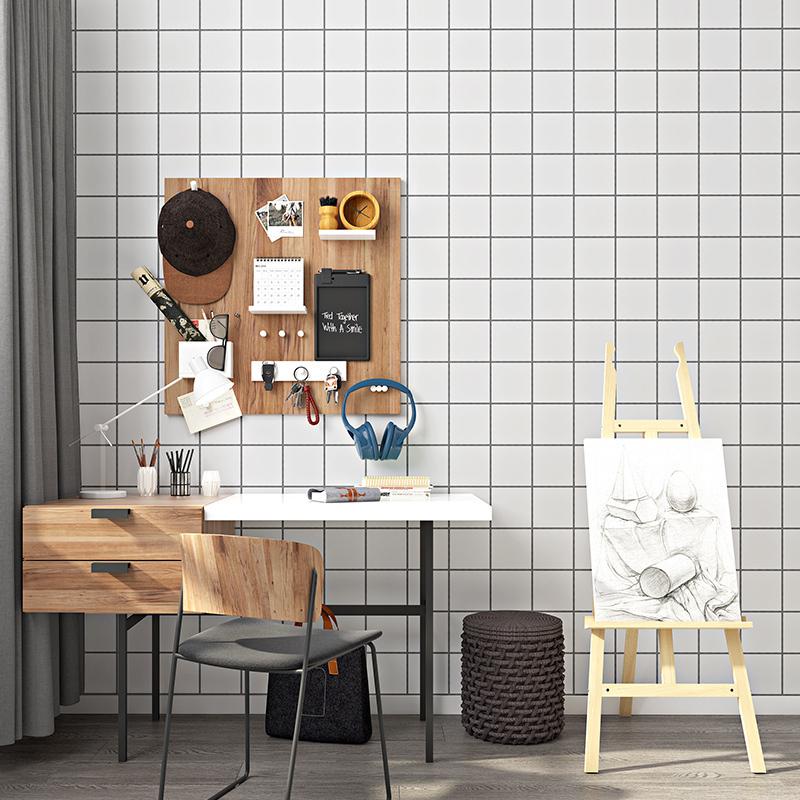 北欧ins风网红黑白格子墙纸现代简约卧室客厅背景服装店壁纸摄像