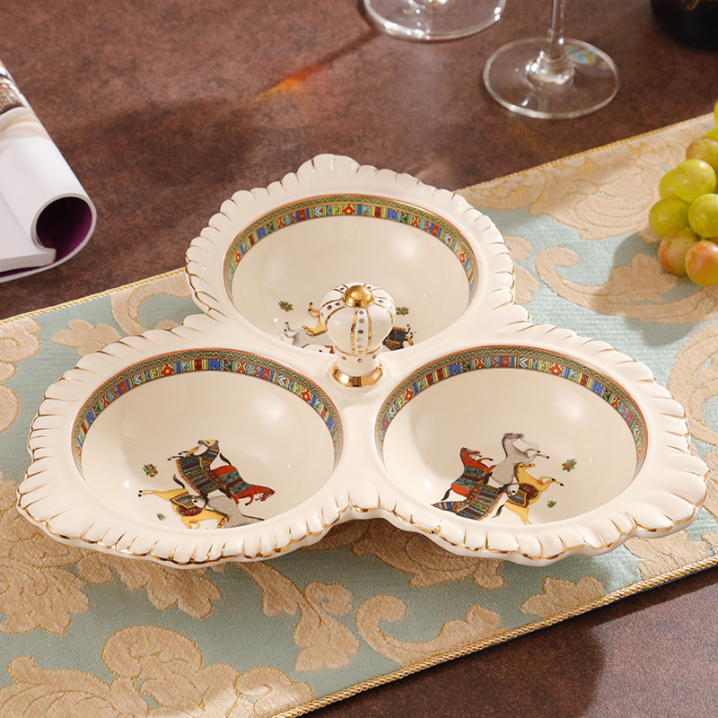 欧式陶瓷干果盘家用坚果零食分格盘创意客厅茶几装饰品糖果盘套装