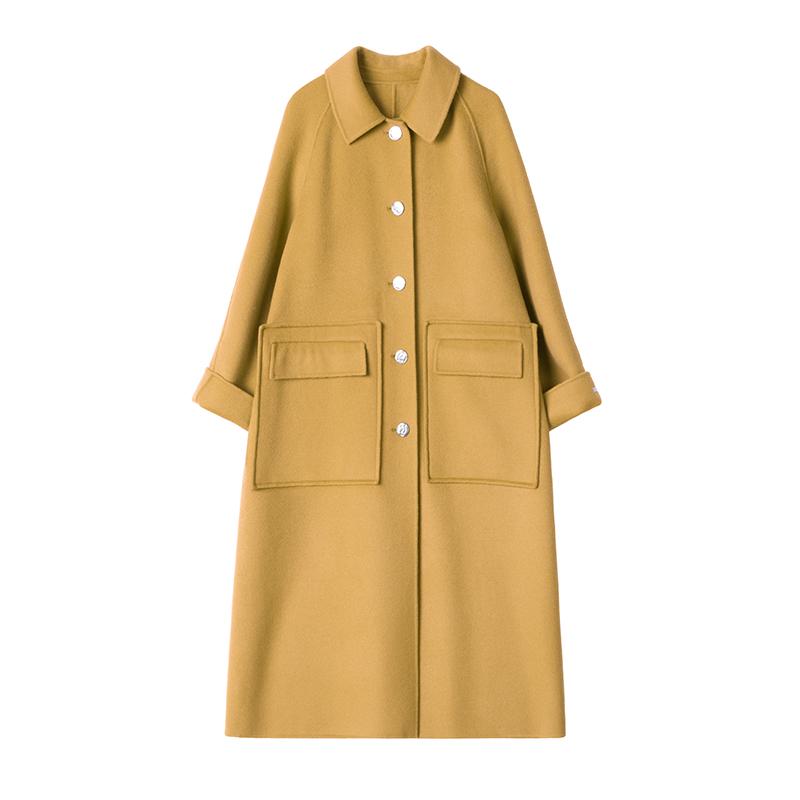 2019韩版高端女士羊绒大衣赫本风羊毛双面毛呢纯色外套