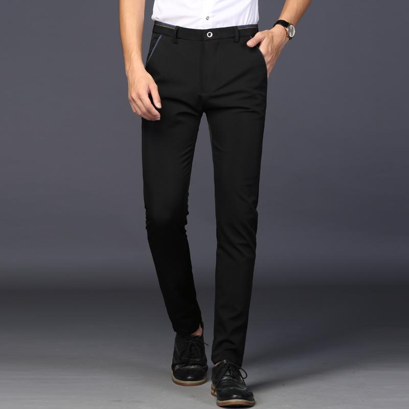 限100000张券冰丝帅气弹力商务修身西裤直筒裤子