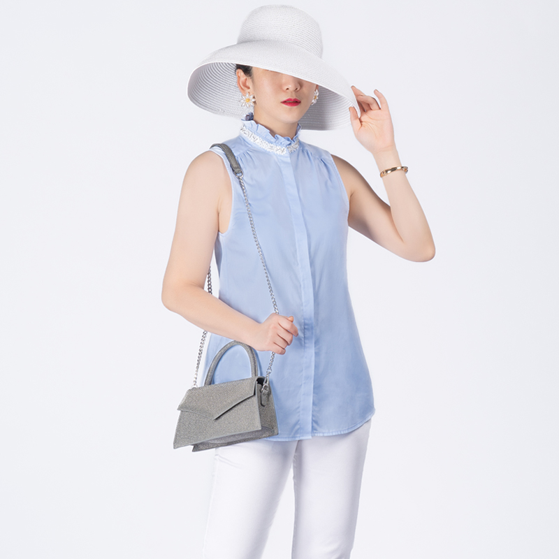 Terre noir 2020 summer new sleeveless shirt womens imported silk cotton embroidered nail beads decorative top
