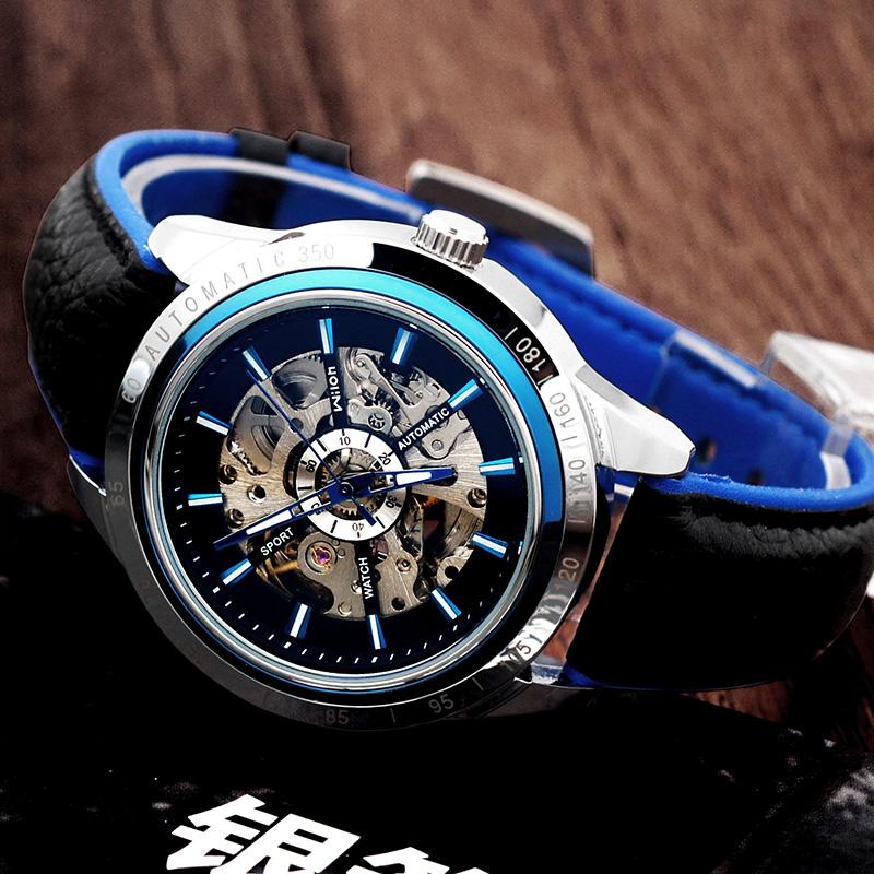 镂空全自动机械男士手表大表盘男表虫洞概念学生运动潮流皮带腕表