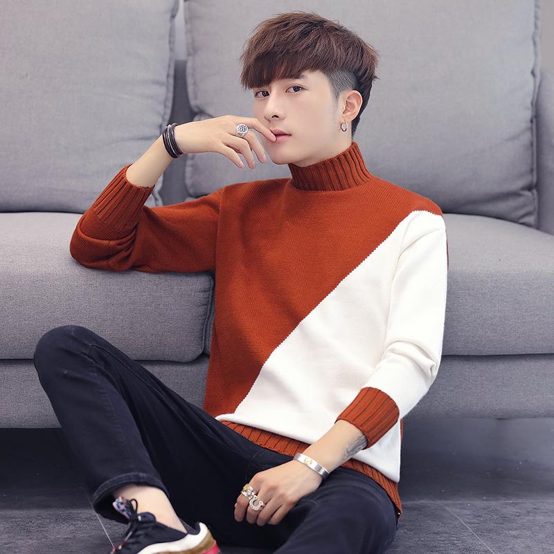 W韩版针织衫秋季套头拼接撞色圆领男士毛衣打底男士羊毛男装959