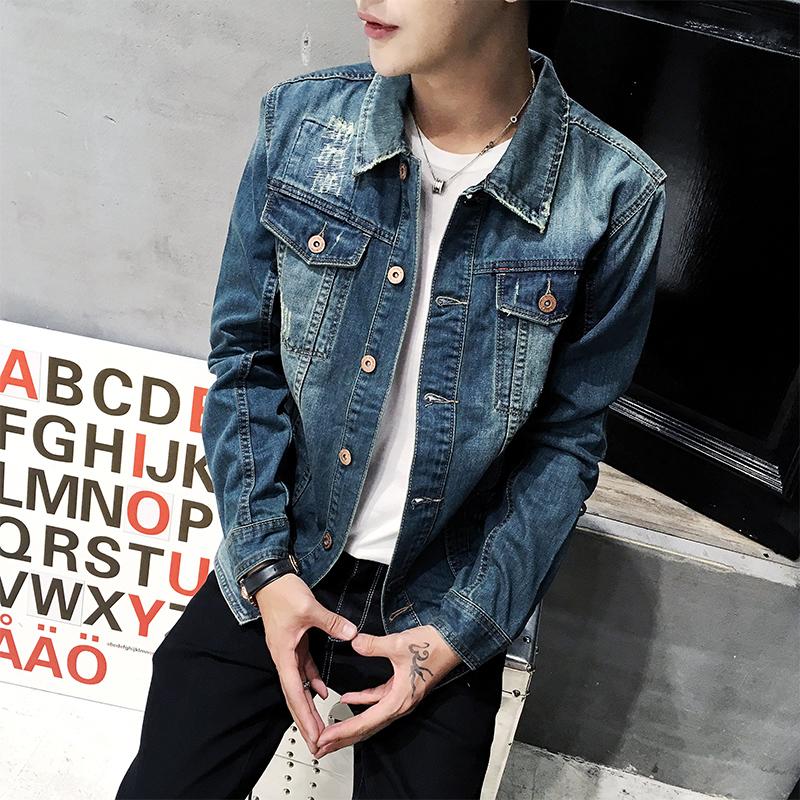 N实拍2017秋冬新款潮男夹克修身牛仔外套男韩版牛仔衣 男上衣T60
