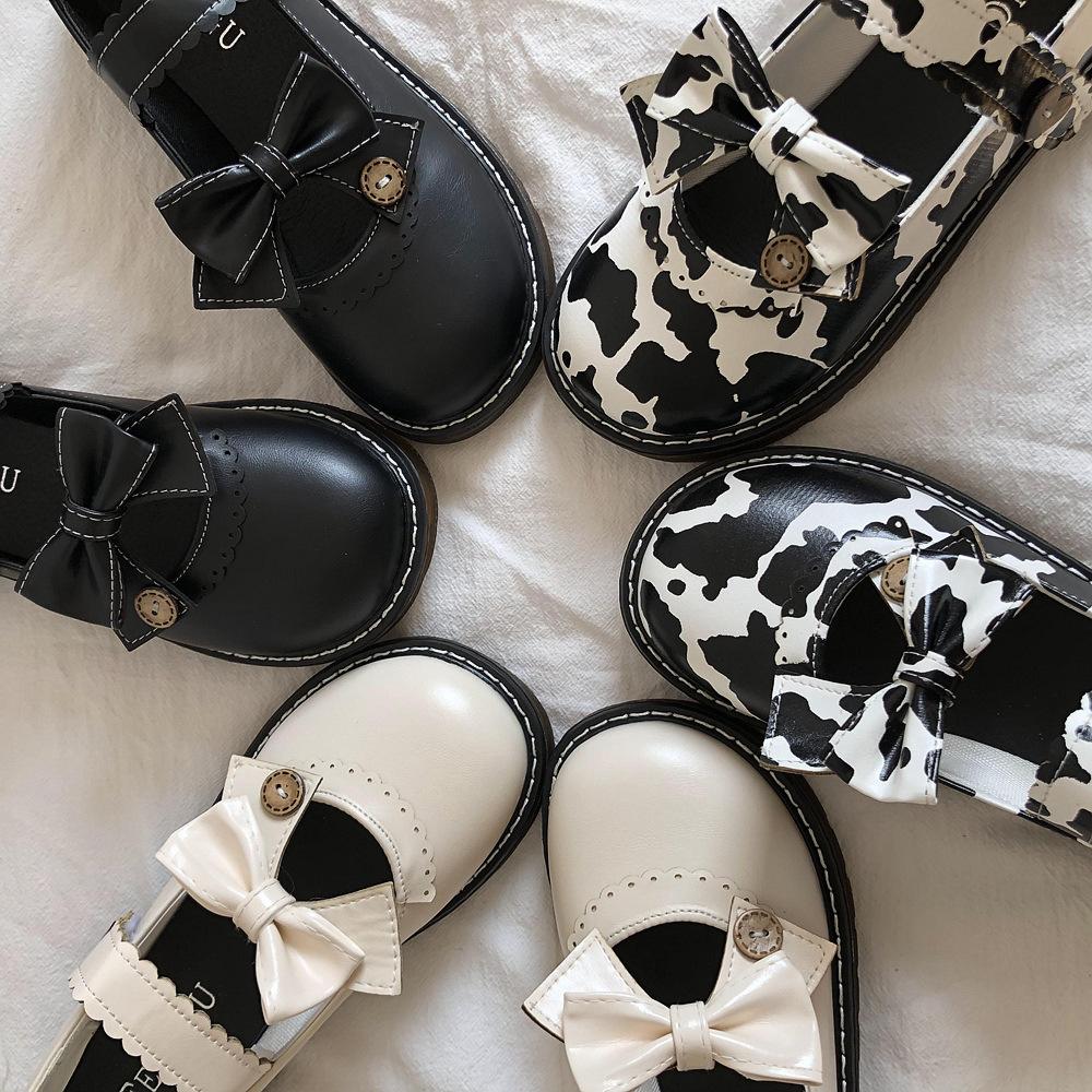 乳牛の小さい革靴の日はlolita Lolitaの主要な靴の梅露jk制服のかわいい丸首のlo少女の靴を結びます。