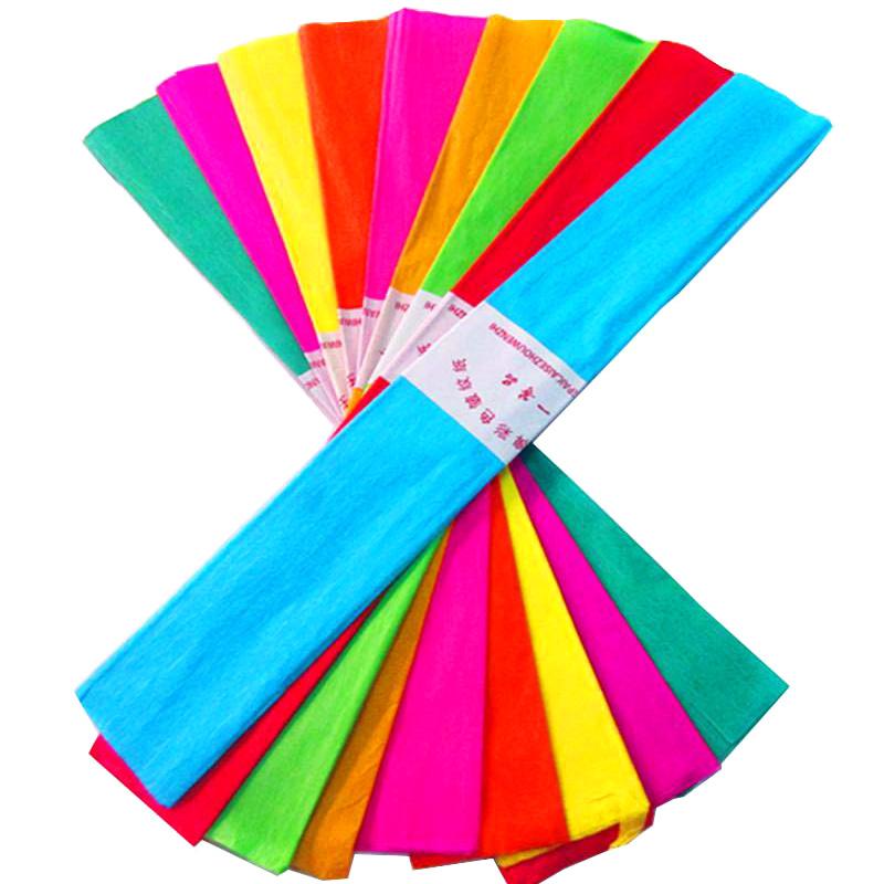 彩色皱纹纸手工材料纸 褶皱纸套装 手搓纸折玫瑰花手揉纸10色包邮