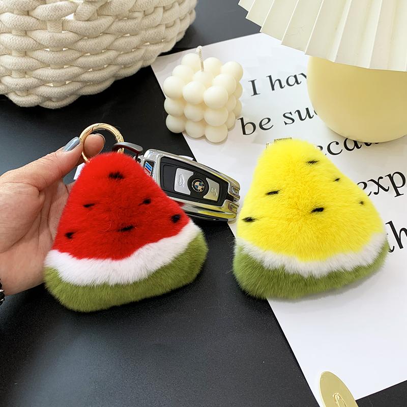 【一块小西瓜】ins可爱獭兔毛西瓜皮草挂件  包包挂饰 汽车钥匙扣