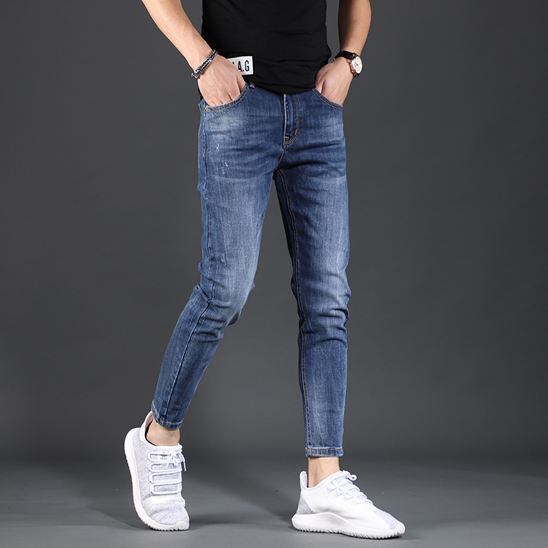 Korean fashionable washed jeans summer slim fit small leg Capris high end versatile elastic casual mens pants
