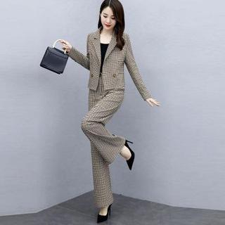2020秋季新款女装套裤时尚气质千鸟格休闲阔腿裤西装套装女两件套