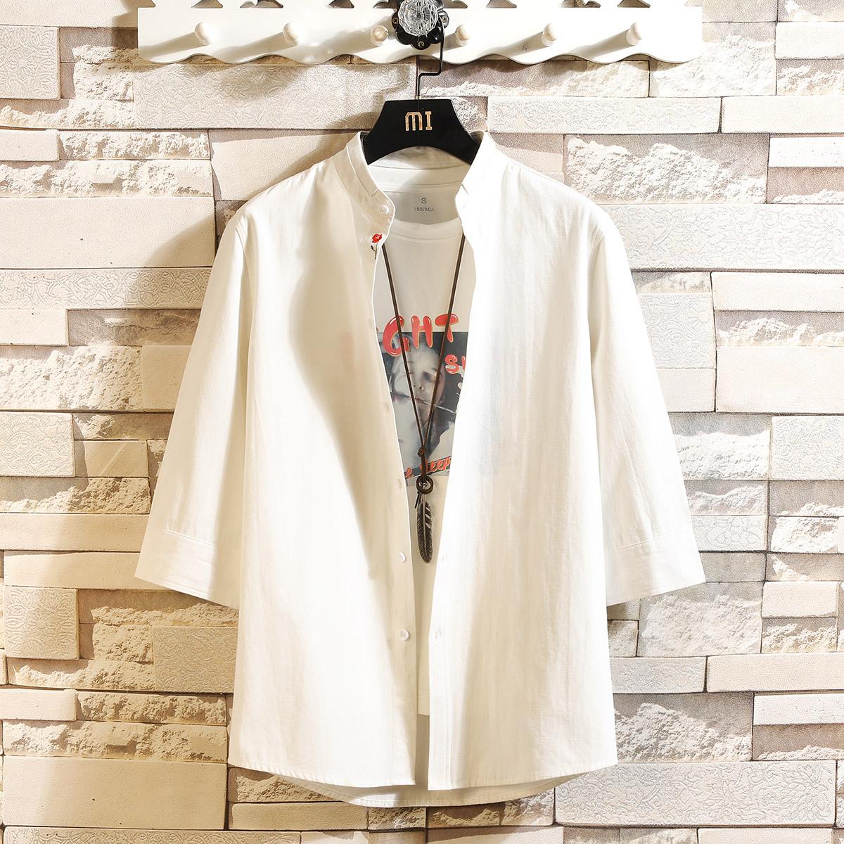 可代付  白七分袖衬衫男短袖宽松韩版五分袖中袖CS123P45