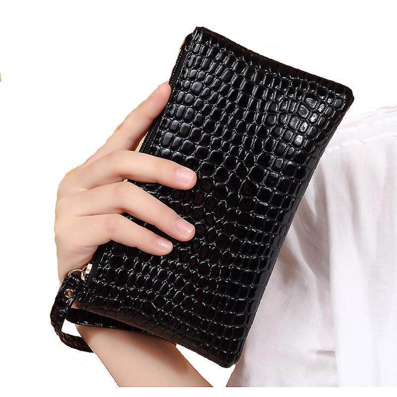 Fashion fashion alligator pattern womens pocket pocket pocket pocket key bag can hold 6-inch mobile phone