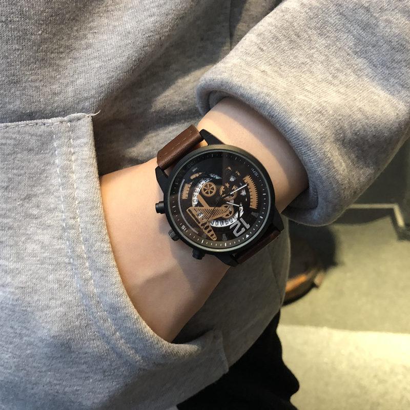 青少年手錶男學生雙飛輪機械鏤空裝飾手錶個性潮流女大表盤石英錶