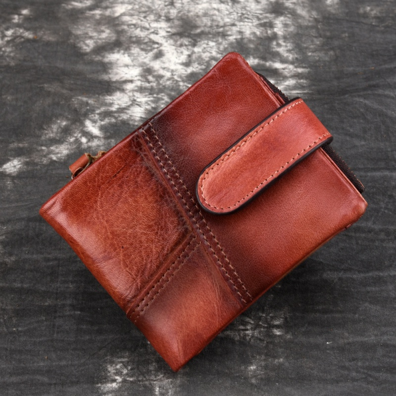 2021 RFID antimagnetic Leather Mens wallet mens double fold Wallet casual style wallet cow leather double fold wipe color money