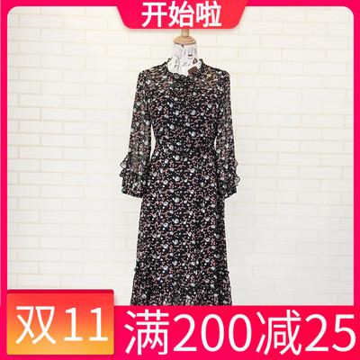 艾尔唯依6Q-Q122时尚连衣裙2020新款秋季修身气质雪纺女裙