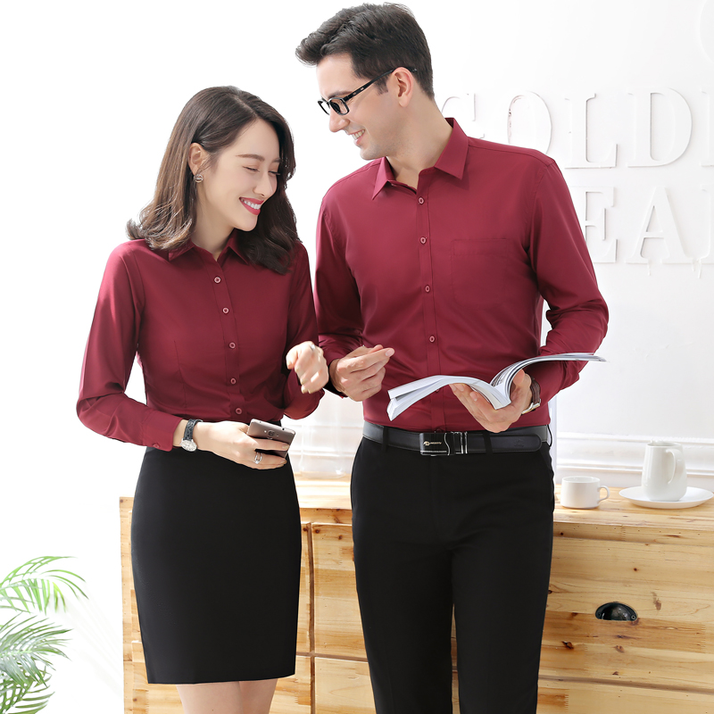 2021 spring and summer new mens and womens professional wear shirt custom logo Han Fan Long Sleeve white collar work suit